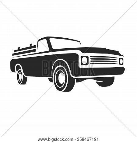 Vintage Pickup Truck Vector Illustration. Oldschool American Car Icon