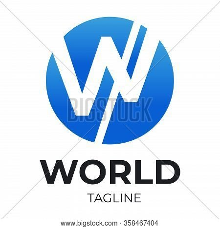 Letter W Logo Encapsulated In Round Shape And Angled Line
