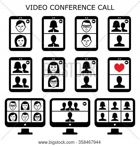 Video Conference Call Vector Icons Set, Online Communicator For Business And Socializing, Online Par