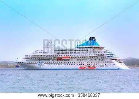 Milos, Greece - April 24, 2019: Celestyal Crystal Cruise Ship In The Aegean Sea