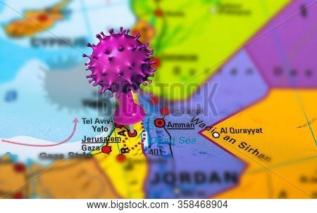 Covid-19 Outbreak Or New Coronavirus, 2019-ncov, Virus Pin In Jerusalem On Map Of Israel. Covid 19-n