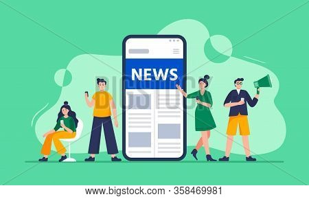 Online News Concept. Modern Young Men And Women Use Smartphones To Read The News. People Standing Ne