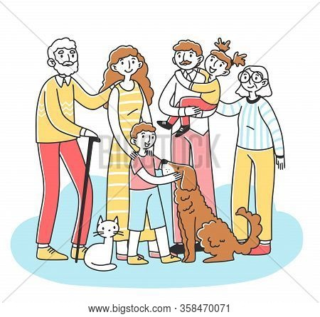 Happy Big Family With Pets Standing Together Flat Vector Illustration. Cartoon Characters Of Mother,