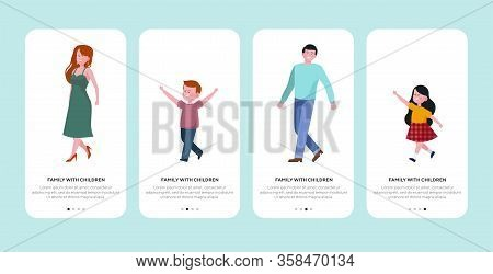 Family With Two Children. Happy Young Couple Walking And Leading Kids By Hands Flat Vector Illustrat