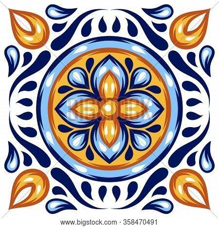 Italian Ceramic Tile Pattern. Mediterranean Porcelain Pottery. Ethnic Folk Ornament. Mexican Talaver