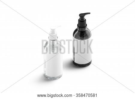 Blank Black And White Glass Pump Bottle With Label Mockup, 3d Rendering. Empty Antiseptic Or Lotion