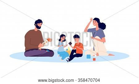 Parenthood Concept. Happy Family Playing. Mother Father Son And Daughter Vector Characters. Mother A