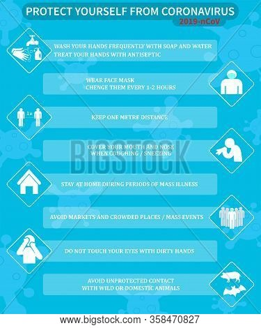 Covid-19 Coronavirus Prevention Infographics. Basic Protective Measures Against The New Coronavirus.