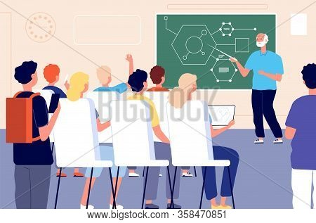 Lecture. Student Class, Education Training Lesson. Teacher Presentation Or Educational Seminar. Male