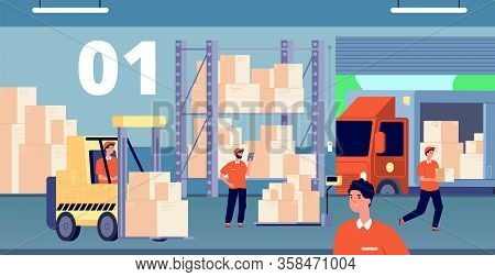 Warehouse Interior. Large Storage, People Inside Storehouse. Cargo Pallet, Workers And Loader Servic