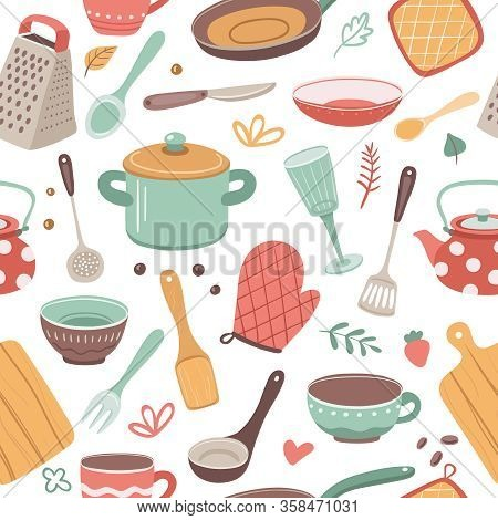 Kitchen Pattern. Utensil, Scandinavian Cooking Background. Kitchenware, Kettle Ceramic Crockery. Cat