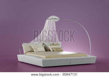 Modern Bed On Pink  Background