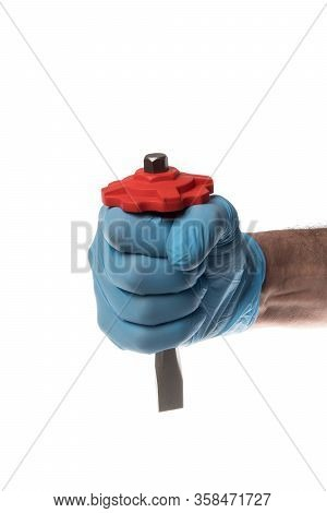 Inox Chisel With Red Rubber Protective Grip Held By A Man With Blue Glove, Isolated On White