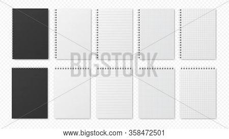 Realistic Notepads. Blank Sheets, Open Planners. Notebooks With Lines And Empty Paper. Isolated Blac