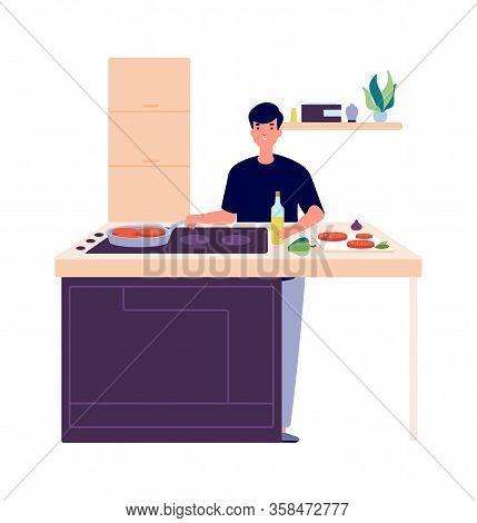 Man Cooking Breakfast. Guy On Kitchen, Frying Or Baking Food. Student Make Eating Vector Illustratio