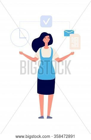 Time Management. Woman Business Assistance, Secretary Work. Happy Businesswoman And Tasks, Work Orga