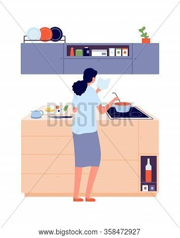 Woman Cooking. Girl In Kitchen Near Stove, Lunch. Cooking, Healthy Eating Vector Illustration. Girl