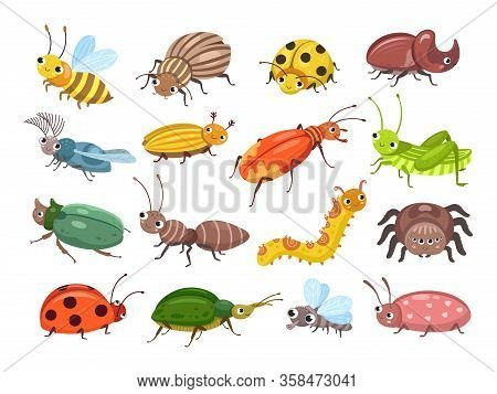 Cartoon Beetle. Funny Smiling Bugs, Children Beetles. Happy Insects, Ladybug And Caterpillar, Larva.