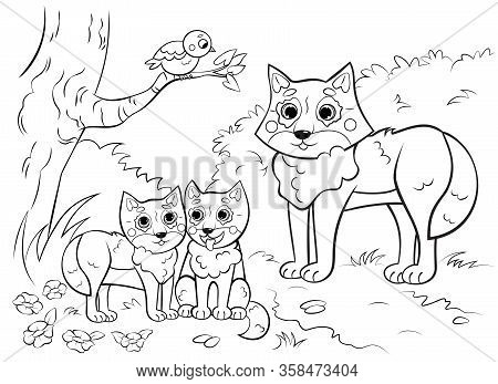 Coloring Page Outline Of Cute Cartoon Wolf Family With Little Cubs. Vector Image With Nature Backgro