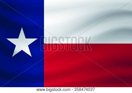 Waving Flag Of Texas. Vector Illustration As Background