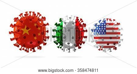 Model Of Covid-19 Coronavirus Colored In National Usa, China And Italy Flag, Concept Of Pandemic Spr