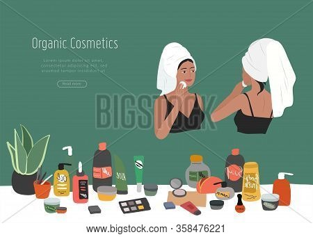 Cute Girl Front And Back View, With Towel On Head, Care For Skin, Cleanses Face And Makeup. Natural