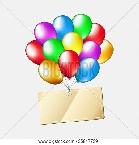 Birthday Multicolored Balloons With Editable Label Isolated On White Background. Happy Birthday Gold