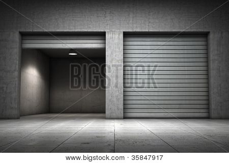 Garage building made ??of concrete with roller shutter doors