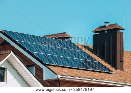Solar Panels, Close Up Shot Of A Solar Panel Array With Blue Sky, Solar Panels On A Roof For Electri