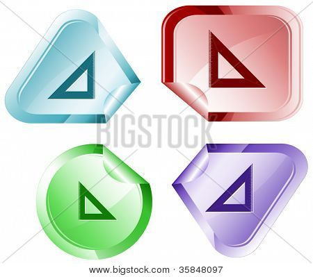 Triangle ruler. Stickers. Raster illustration. Vector version is in my portfolio.