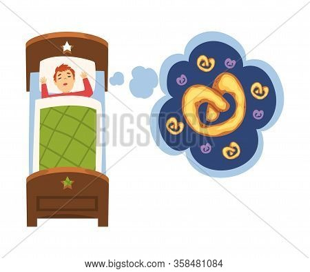 Cute Boy Sleeping In Bed And Dreaming About Pretzel, Kid Lying In Bed Having Sweet Dreams Vector Ill
