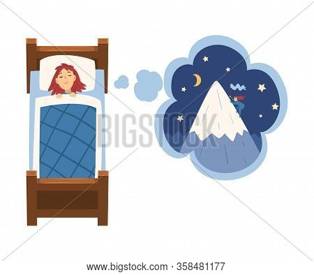 Cute Girl Sleeping In Bed And Dreaming About Mountaineering, Kid Lying In Bed Having Sweet Dreams Ve