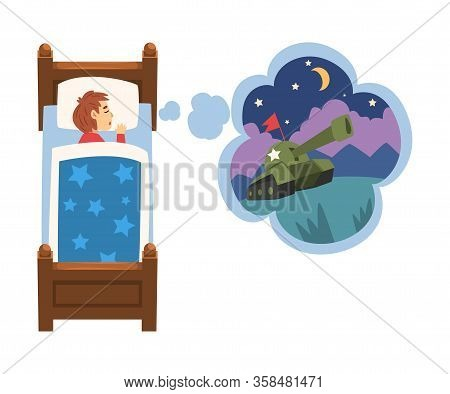 Cute Girl Sleeping In Bed And Dreaming About Military Tank, Kid Lying In Bed Having Sweet Dreams Vec