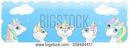White Kitten Unicorn Pony Horse Cat   Friends  Illustration Vector