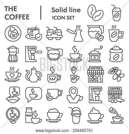 Coffee Line Icon Set. Caffeine Or Cafe Signs Collection, Sketches, Logo Illustrations, Web Symbols,