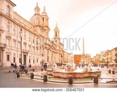 Rome, Italy - May 05, 2019: Piazza Navona Square. Fontana Del Moro, Four Rivers Fountain, Italian Fo