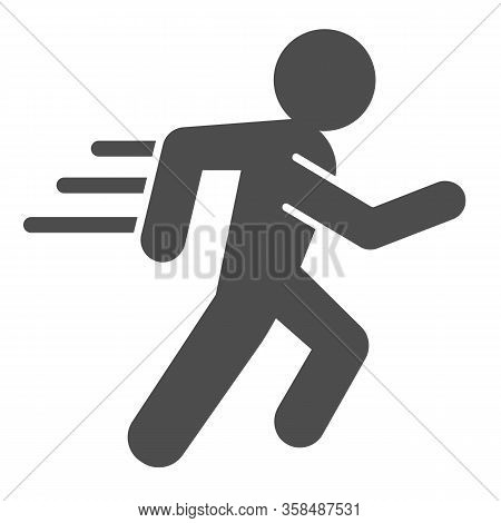 Runner Line And Solid Icon. Sportsman Running With Speed Motion Symbol, Outline Style Pictogram On W