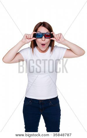 studio shot of teenager in 3d glasses. isolated on white background