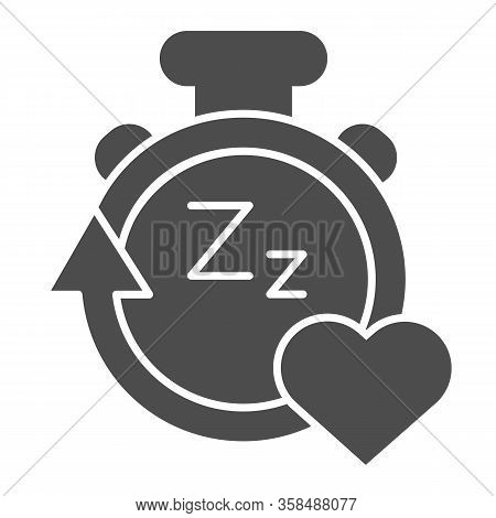 Sleep Duration Tracker Line And Solid Icon. Gadget With Arrow And Heart Symbol, Outline Style Pictog
