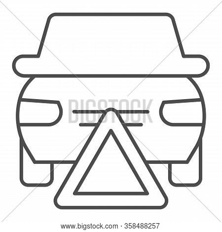 Emergency Stop Thin Line Icon. Accidents Prevention, Caution Triangle Symbol, Outline Style Pictogra