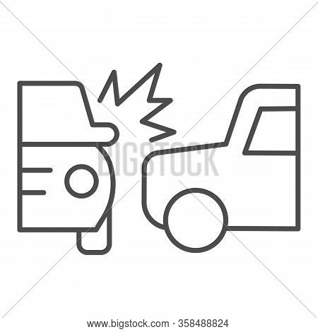 Two Automobile Road Crash Thin Line Icon. Frontal Or Side Driving Collision Symbol, Outline Style Pi