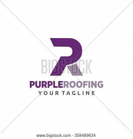 Pr Purple Roofing Logo Templates Company, Vector