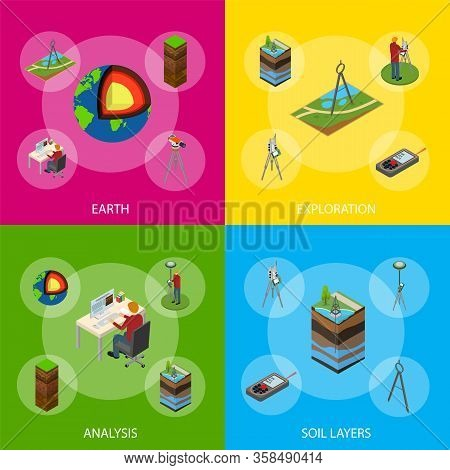 Earth Exploration Concept Banner Set 3d Isometric View Include Of Research Instrument, Exploration G