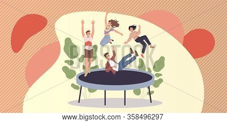 Happy Teenage Friends Jumping On Trampoline. Teens Enjoying Activity, Having Fun Flat Vector Illustr