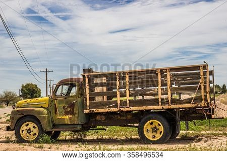 Old Rusty Flat Bed Truck With Woode Slats