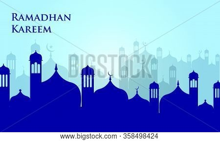 Ramadan Kareem Background. Ramadan Kareem Vector, Mosque Silhouette Islamic. Translation Ramadan Kar