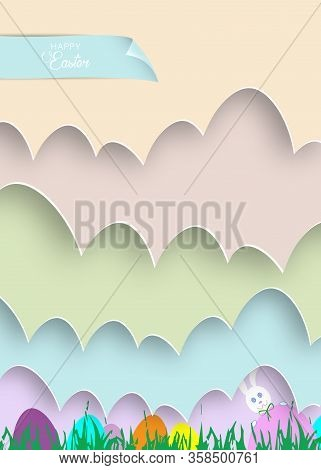 Happy Easter Cartoon, Paper Cut Style, White Rabbit And Colorful Template, Flat Design, Outline Draw
