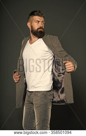 Perfect For Work Or Weekends. Bearded Man Wear Casual Style. Hipster In Casual Outfit Grey Backgroun
