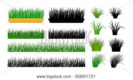 Green Grass. Bushes, Spring Meadow And Planting In Pot. Isolated Black Silhouettes Of Grass, Vector
