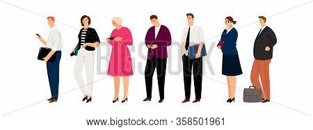 Business Characters. Isolated Man Woman With Smartphones And Documents. Businesspeople Waiting Line
